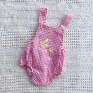 Vintage Deadstock LE LE pink check duck romper